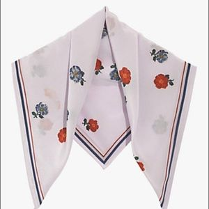 Madewell Floral Lilac Silk Neck Scarf
